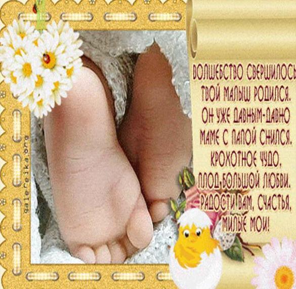 Красивое поздравление с новорожденным в открытке