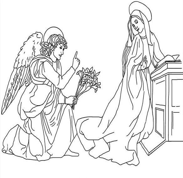 Раскраска на Благовещение Пресвятой Богородицы для детей