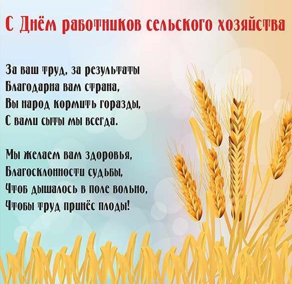 Открытка на день работника сельского хозяйства с поздравлением