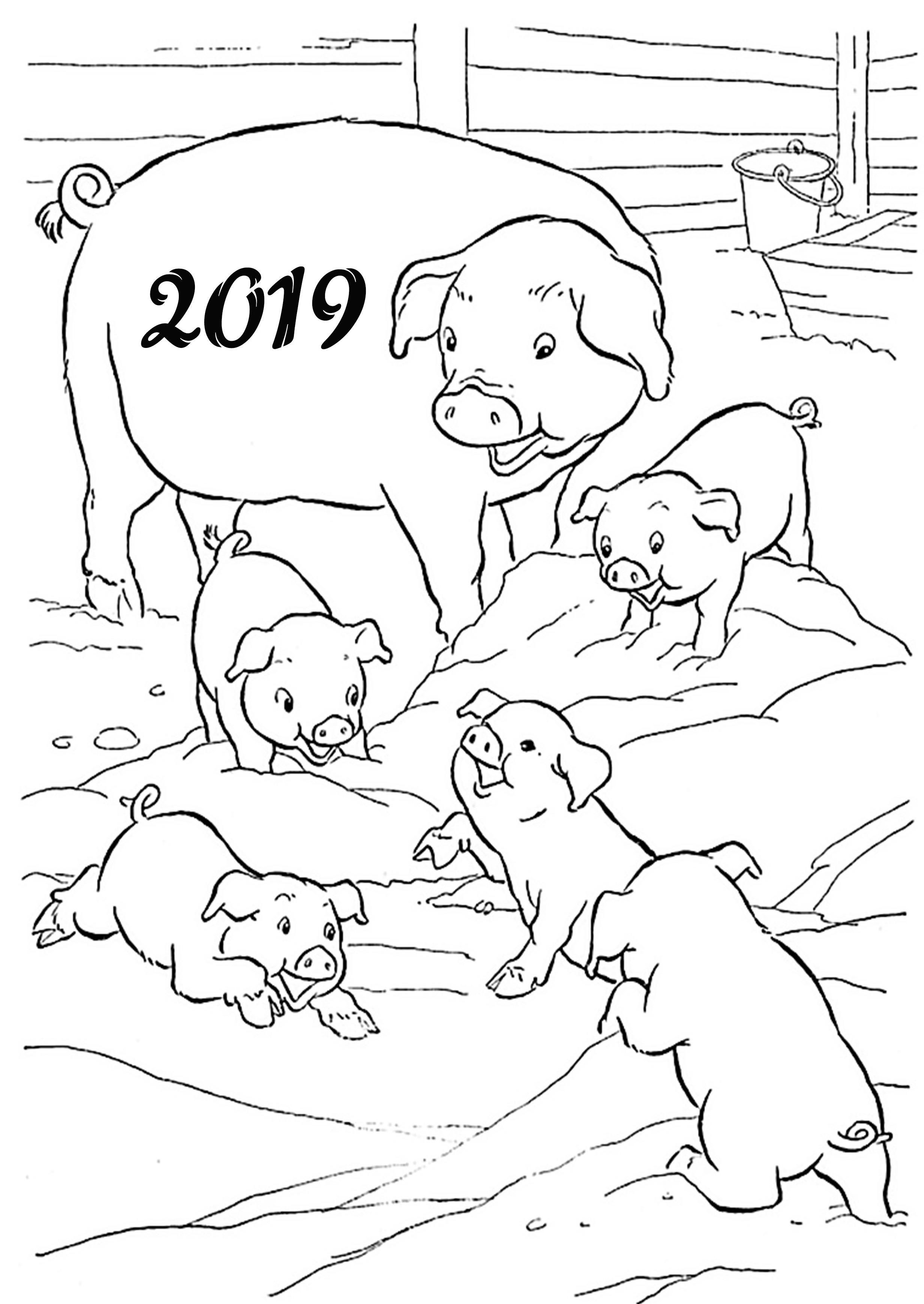 Картинка раскраска на новый год с символом поросятами