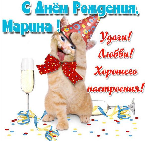 Прикольная картинка с днем рождения для Марины