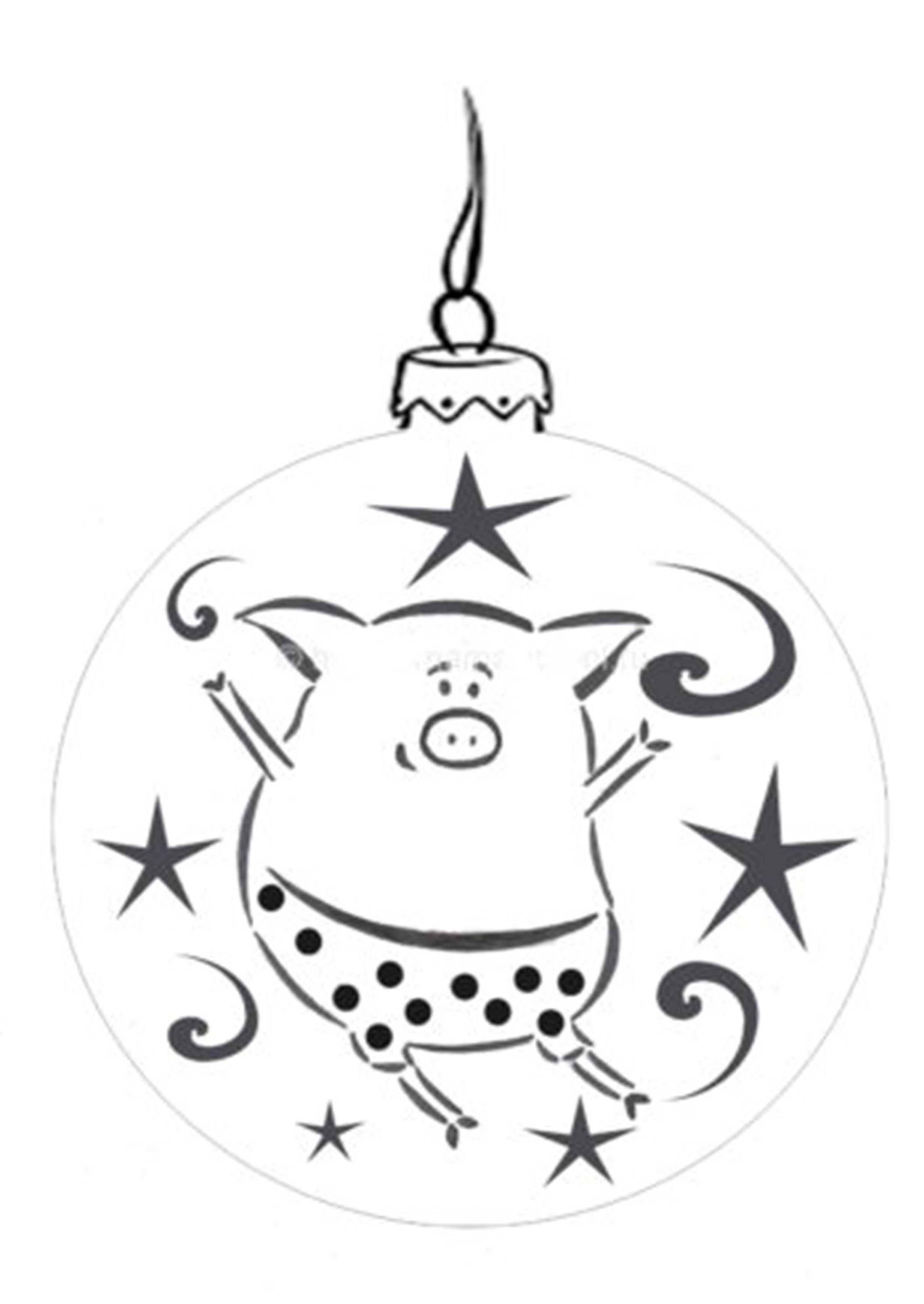 Картинка раскраска со свинкой на Новый Год