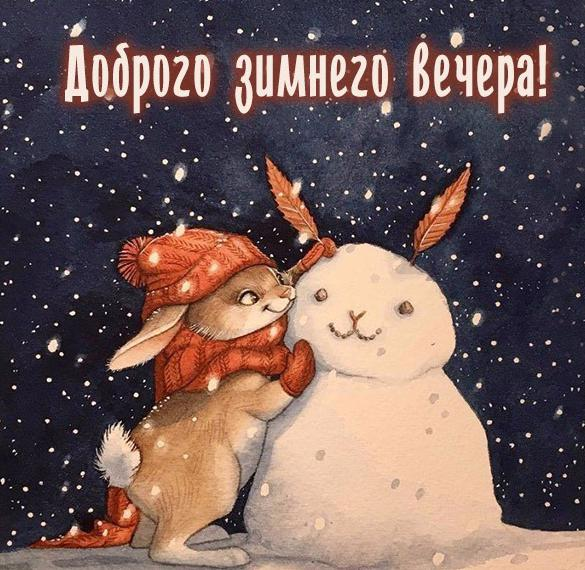 Красивая открытка доброго зимнего вечера