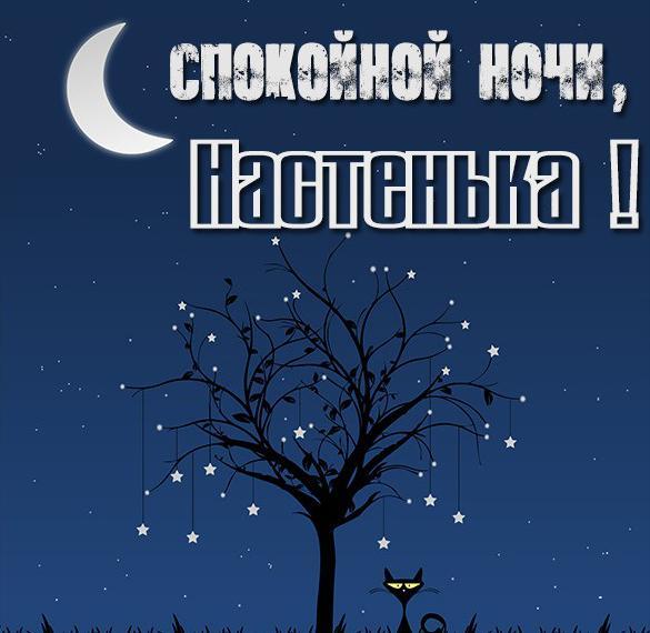 Красивая открытка Настенька спокойной ночи