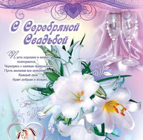 Красивая открытка с серебряной свадьбой со стихами