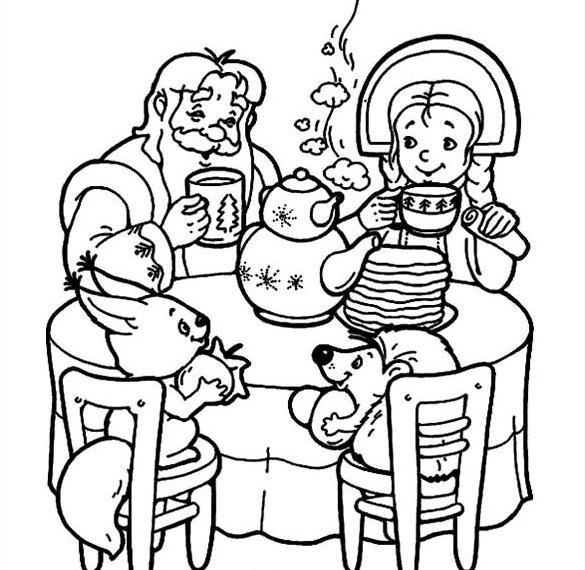 Картинка раскраска на Масленицу для детей