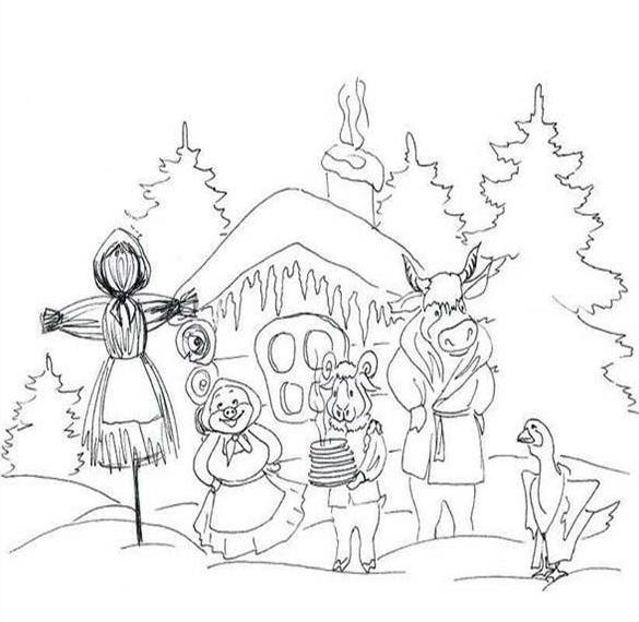 Картинка раскраска на Масленицу