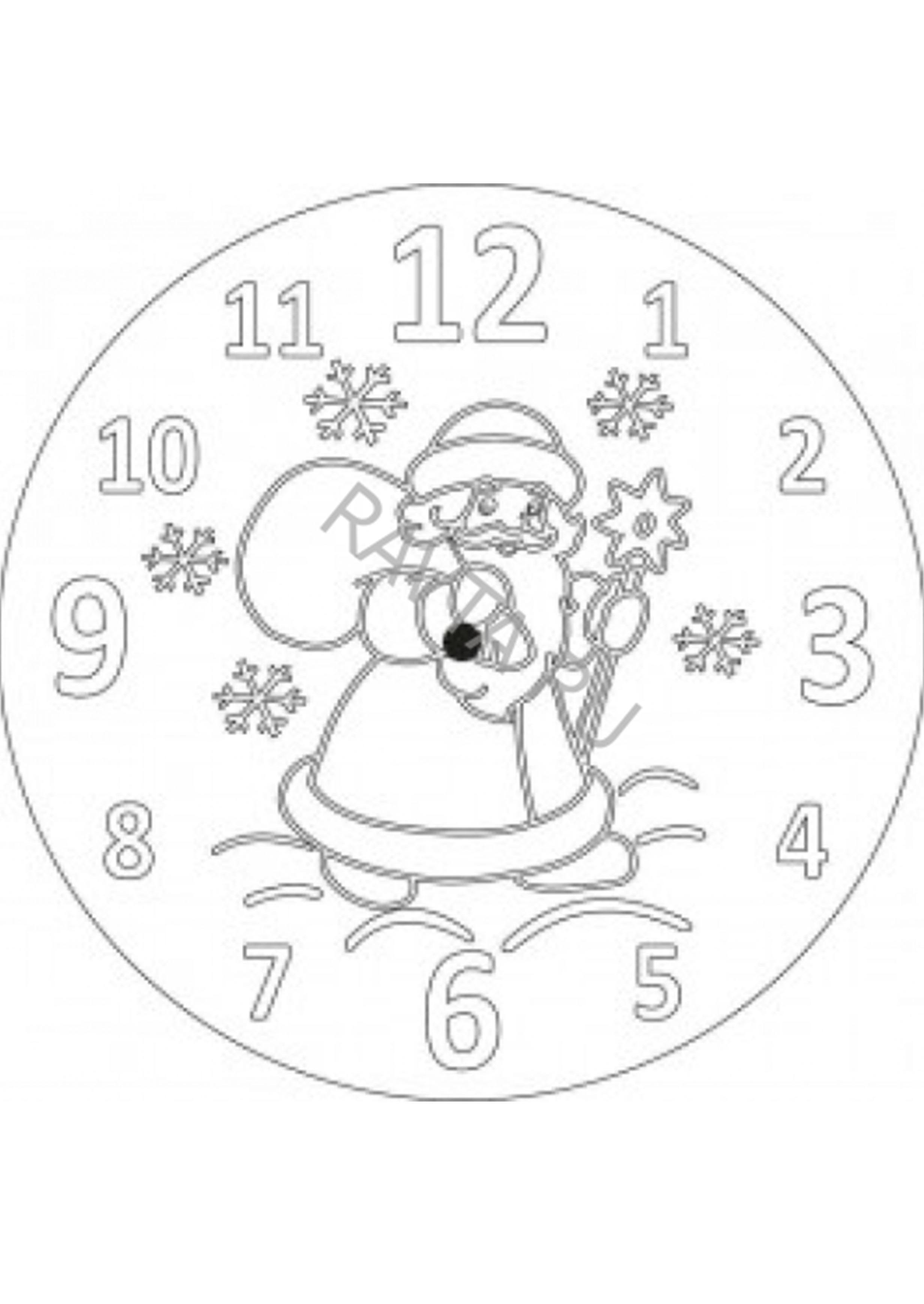 Картинка новогодний циферблат часов с цветами для распечатки