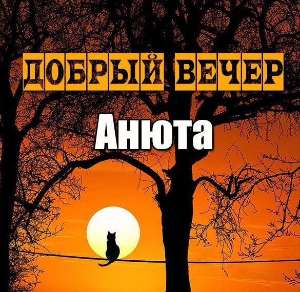 Открытка добрый вечер Анюта