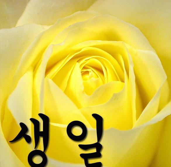 Открытка на день рождения на корейском