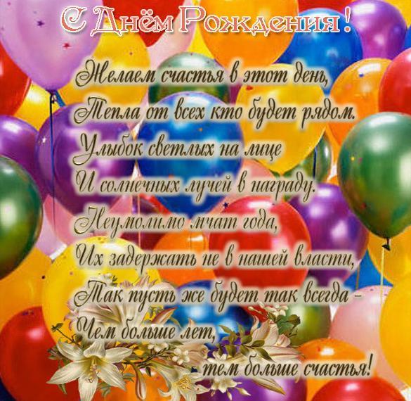 Открытка с днем рождения с воздушными шариками