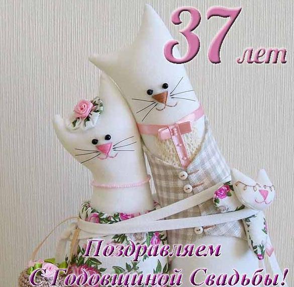 Открытка с годовщиной свадьбы на 37 лет