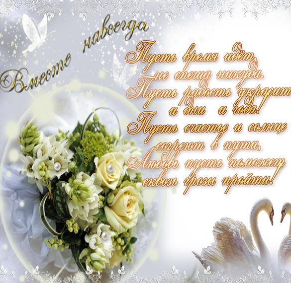 Открытка с поздравлением молодоженам на свадьбу
