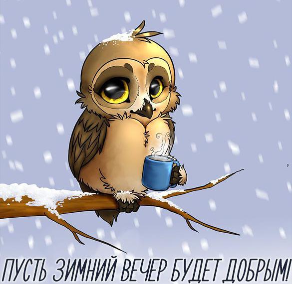 Открытка с пожеланием доброго вечера зимнего