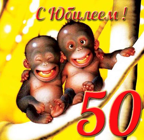 Прикольная открытка с юбилеем на 50 лет женщине