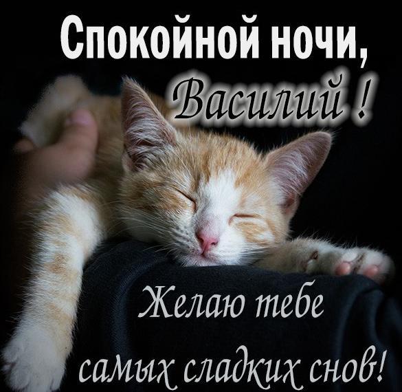 Открытка спокойной ночи Василий