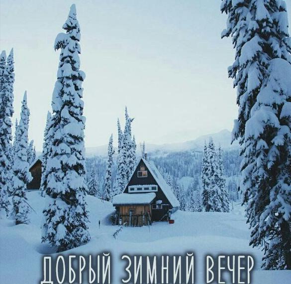 Открытка в картинке добрый зимний вечер