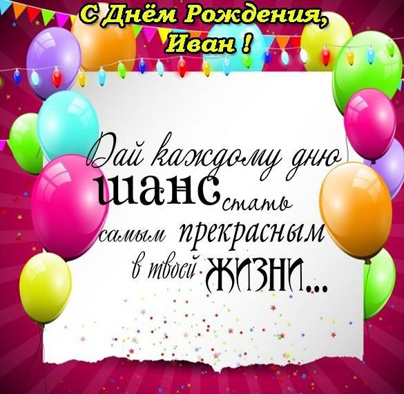 Открытка с поздравлением Ивана с днем рождения