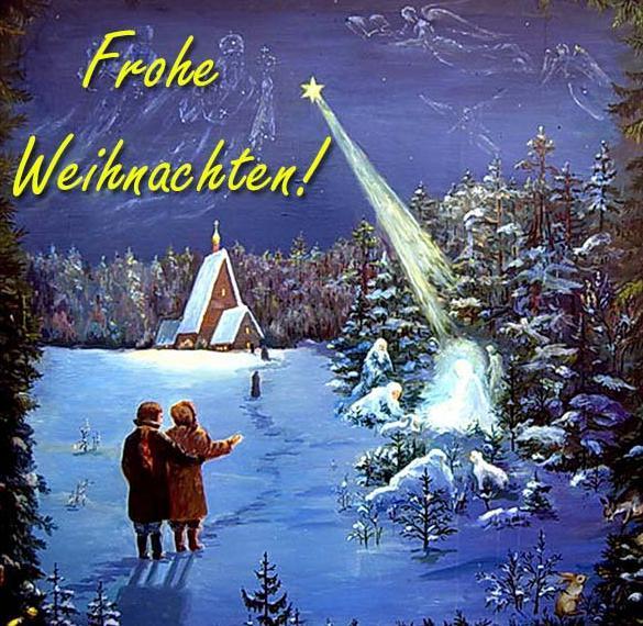 Открытка с поздравлением с Рождеством на немецком языке