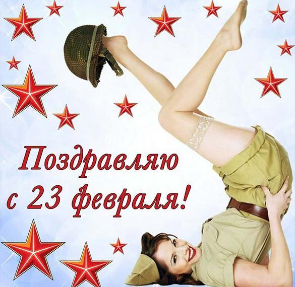 Прикольная открытка для девчонок с 23 февраля