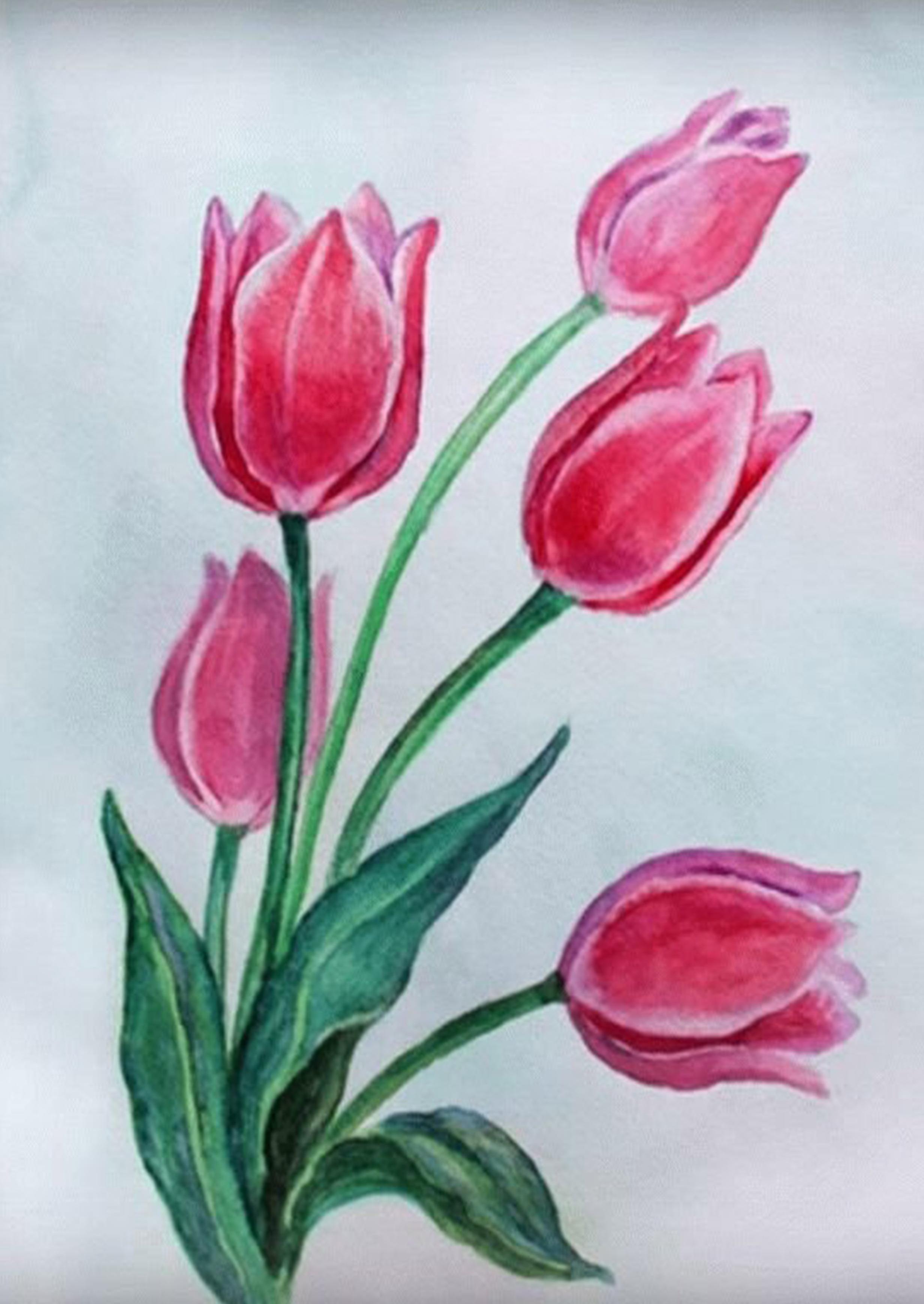 Рисунок маме на 8 марта цветы