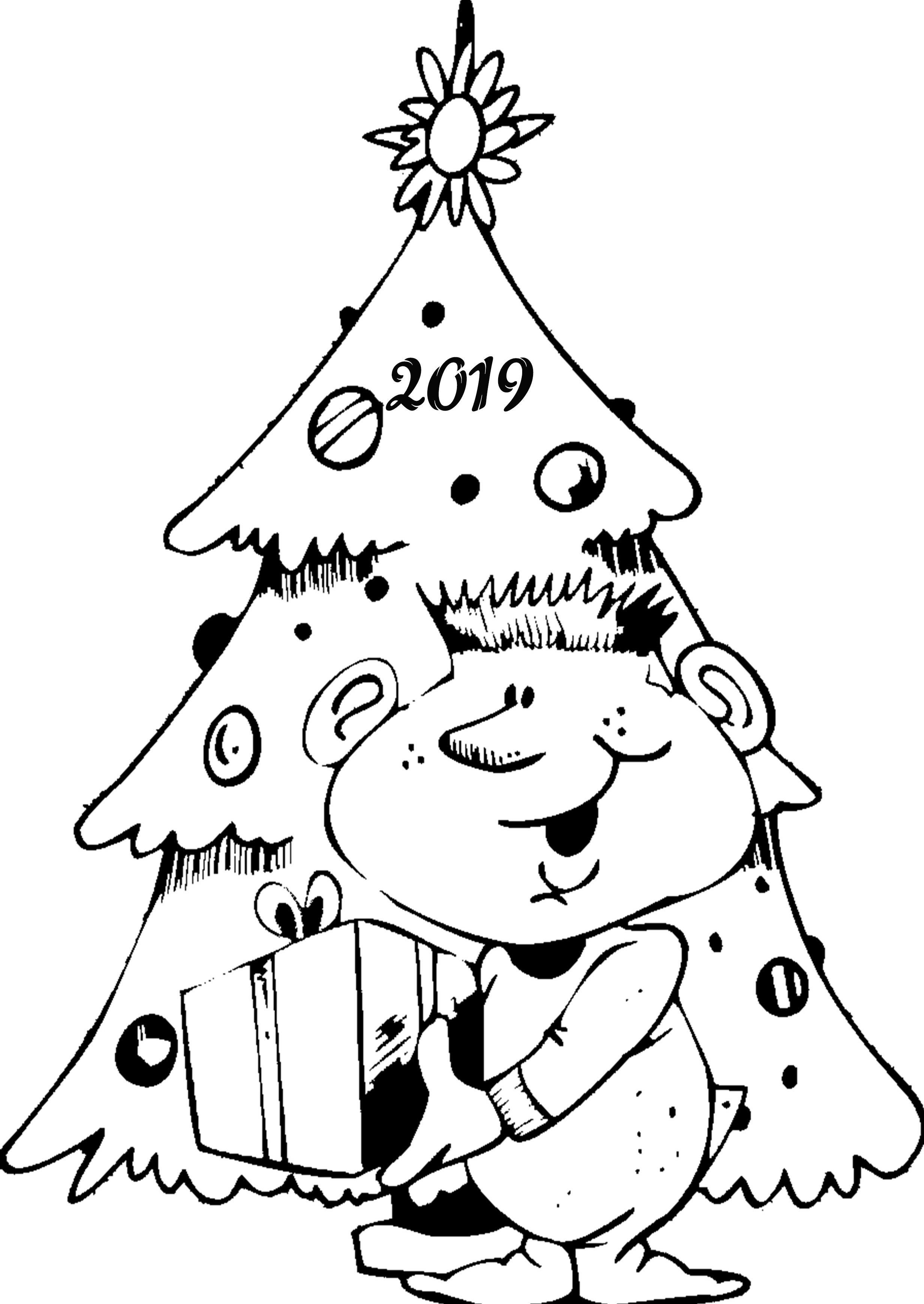 Новогодняя картинка раскраска на 2019