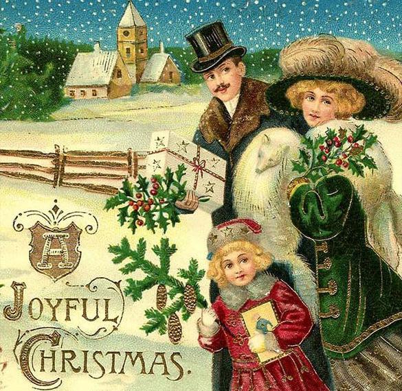 Новогодняя открытка в старинном немецком стиле