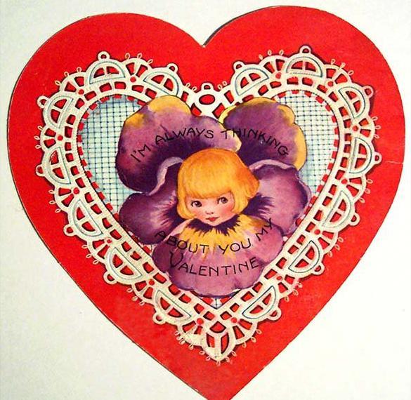 Винтажная открытка с днем Валентина